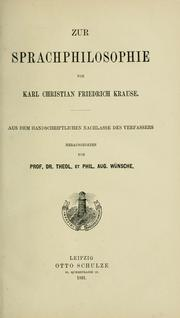 Cover of: Zur Sprachphilosophie
