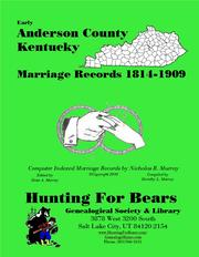 Cover of: Early Anderson County Kentucky Marriage Records 1831-1872