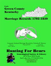 Cover of: Early Green County Kentucky Marriage Records 1792-1839