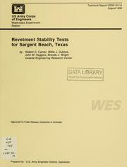 Cover of: Revetment stability tests for Sargent Beach, Texas | Robert D. Carver