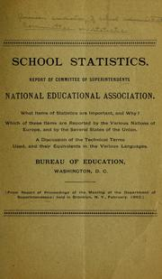 Cover of: School statistics. | American Association of School Administrators. Committee on statistics.