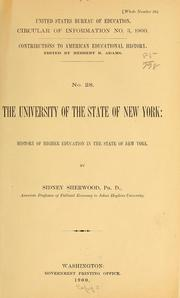 Cover of: The University of the state of New York: History of higher education in the state of New York | Sidney Sherwood
