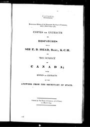Cover of: Copies or extracts of despatches