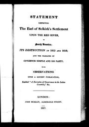 Cover of: Statement respecting the Earl of Selkirk