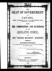 Cover of: The seat of government of Canada |