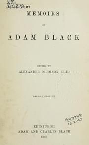 Cover of: Memoirs | Adam Black