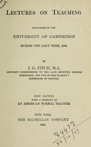 Cover of: Lectures on teaching | Joshua Girling Fitch