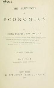 Cover of: Elements of economics | Henry Dunning Macleod