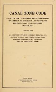 Cover of: Canal zone code | Panama Canal (Panama)