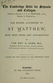 Cover of: The Gospel according to St. Matthew | Arthur Carr