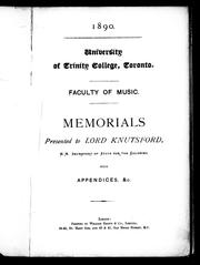 Cover of: Memorials presented to Lord Knutsford, H.M. secretary of state for the colonies, with appendices, &c | Trinity College (Toronto, Ont.).