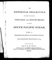 Cover of: An Historical collection of the several voyages and discoveries in the South Pacific Ocean, Vol 1 by Alexander Dalrymple