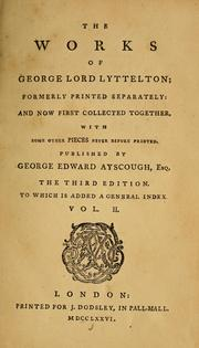 Cover of: The works of George Lord Lyttelton | Lyttelton, George Lyttelton Baron