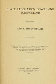 Cover of: State legislation concerning tuberculosis | Leo F. Tiefenthaler