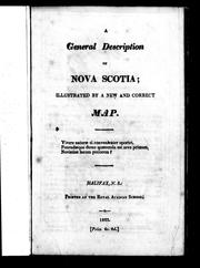 Cover of: A general description of Nova Scotia | Thomas Chandler Haliburton