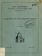 Cover of: An electronic wave-height measureing apparatus | Campbell, William S.