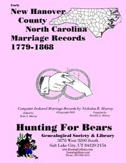 Cover of: Early New Hanover County North Carolina Marriage Records 1779-1868