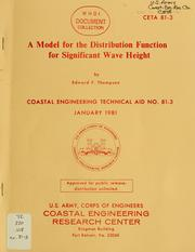 Cover of: A model for the distribution function for significant wave height | Edward F. Thompson