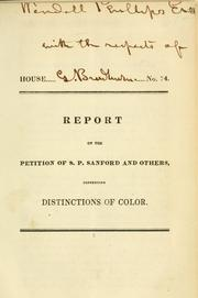 Cover of: Report on the petition of S.P. Sanford and others [ladies of Dorchester] | Massachusetts. General Court.