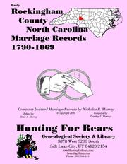 Cover of: Early Rockingham County North Carolina Marriage Records 1790-1869