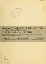 Cover of: Geoacoustic models of the sea floor | Edwin L. Hamilton