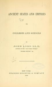 Cover of: Anceint states and empires | Lord, John