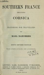 Cover of: Southern France, including Corsica | Karl Baedeker (Firm)
