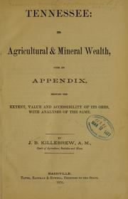 Cover of: Tennessee: its agricultural & mineral wealth | Tennessee. Bureau of agriculture, statistics and mines