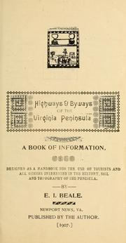 Cover of: Highways & byways of the Virginia peninsula | Edwin Independence Beale