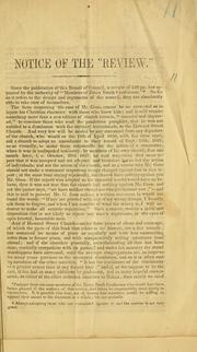 Cover of: Notice of the Review | Essex South Conference (1849 Salem, Mass.)