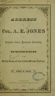 Cover of: Address of Col. A. E. Jones, at Turpin