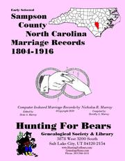 Cover of: Early Sampson County North Carolina Marriage Records 1804-1916