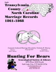 Cover of: Early Transylvania County North Carolina Marriage Records 1861-1868
