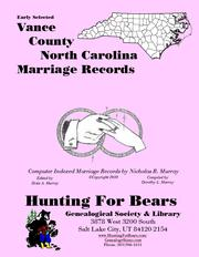 Cover of: Early Vance County North Carolina Marriage Records