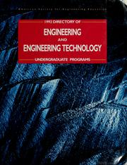 Cover of: Directory of engineering and engineering technology undergraduate programs by American Society for Engineering Education