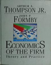 Cover of: Economics of the firm | Arthur A. Thompson
