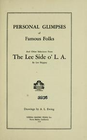 Cover of: Personal glimpses of famous folks by Lee Shippey