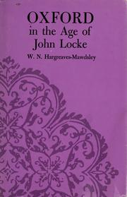 Cover of: Oxford in the age of John Locke | W. N. Hargreaves-Mawdsley