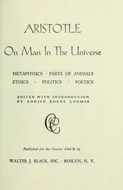 Cover of: On man in the universe | Aristotle