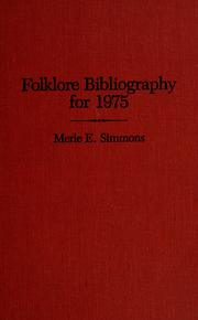 Cover of: Folklore Bibliography for 1975 by Merle E Simmons
