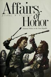 Cover of: Affairs of honor | Joanne B. Freeman