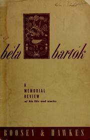 Cover of: Béla Bartók by