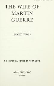 Cover of: The wife of Martin Guerre