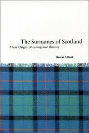 Cover of: Surnames of Scotland  by George F. Black