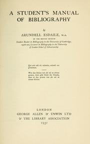 Cover of: A student's manual of bibliography | Arundell James Kennedy Esdaile