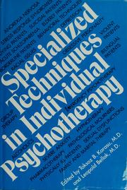 Cover of: Specialized techniques in individual psychotherapy |