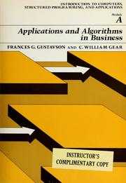 Cover of: Applications and algorithms in business by Fran Goertzel Gustavson