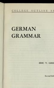 Cover of: German grammar by Eric V. Greenfield