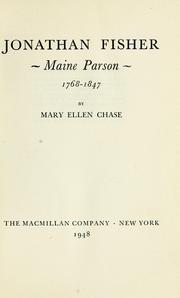 Cover of: Jonathan Fisher, Maine parson, 1768-1847