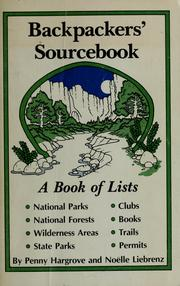 Cover of: Backpackers' sourcebook | Penny Hargrove